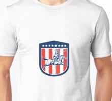 American Rodeo Cowboy Horse Lasso Shield Retro Unisex T-Shirt
