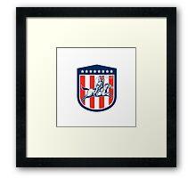 American Rodeo Cowboy Horse Lasso Shield Retro Framed Print
