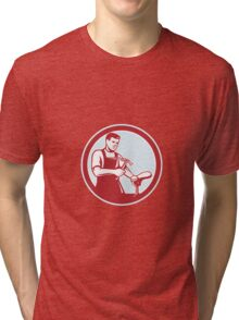 Shoemaker With Hammer Shoe Circle Retro Tri-blend T-Shirt