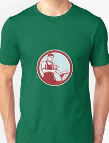 Shoemaker With Hammer Shoe Circle Retro Unisex T-Shirt