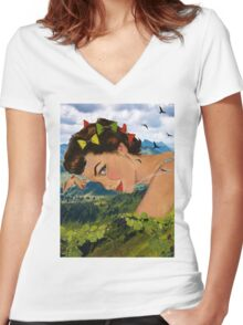 Peaceful time Women's Fitted V-Neck T-Shirt