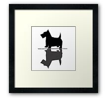 Artsy Funky Scottish Terrier Reflection Art Framed Print
