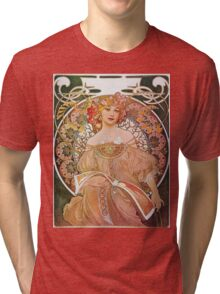 Alphonse Mucha - Reverie Daydream Tri-blend T-Shirt