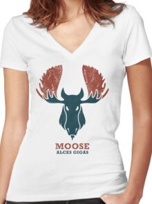 Alaskan Moose - Alces Gigas Women's Fitted V-Neck T-Shirt