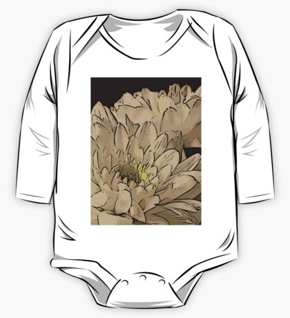 White Flowers Woodcut One Piece - Long Sleeve
