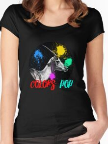 SAFARI COLORS POP - ANTELOPE Black Edition Women's Fitted Scoop T-Shirt