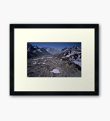 Aerial view of the Khumbu Glacier under Mount Everest Nepal Framed Print