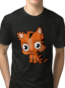 Chibi Tiger Cub Cartoon Tri-blend T-Shirt