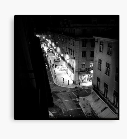 Night street scene in Baixa Lisbon Portugal Canvas Print