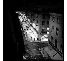 Night street scene in Baixa Lisbon Portugal Photographic Print