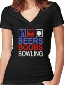 Funny Bowling Women's Fitted V-Neck T-Shirt