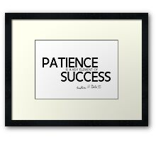 patience is a key element of success (v2) - bill gates Framed Print
