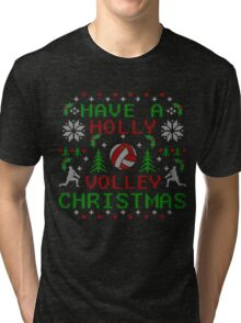Holly Volley Volleyball Ugly Christmas by TeeCreations Tri-blend T-Shirt