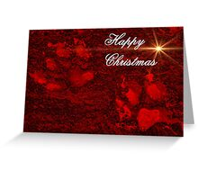 Red Paw Prints Happy Christmas Greeting Card