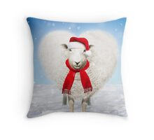 Heart shaped sheep wearing Christmas hat Throw Pillow