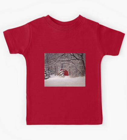 Red Barn in the Snow Kids Tee