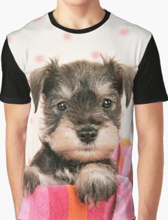 Cute Schnauzer puppy leaning on towel Graphic T-Shirt