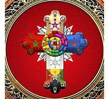 Rosy Cross - Rose Croix in Gold on Red  Photographic Print