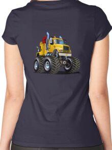 Cartoon Monster Tow Truck Women's Fitted Scoop T-Shirt