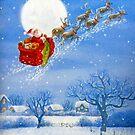 Santa with his Flying Reindeer by Susan S. Kline