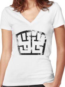 SOLDIER black grunge Women's Fitted V-Neck T-Shirt
