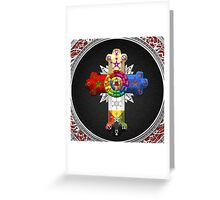 Rosy Cross - Rose Croix in Silver on Black Greeting Card