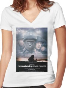 Remembering Private Harambe Women's Fitted V-Neck T-Shirt
