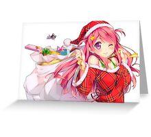 Pink christmas anime girl Greeting Card