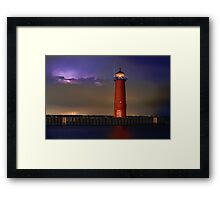 Lightning Lighthouse Framed Print