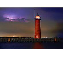 Lightning Lighthouse Photographic Print
