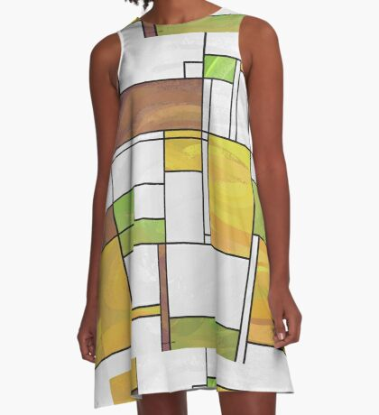 Mondrian Brown Yellow Green  A-Line Dress