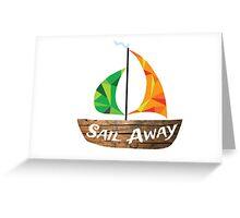Sail Away: Orange/Green Greeting Card