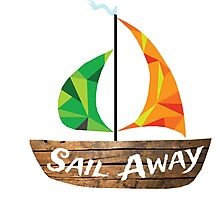 Sail Away: Orange/Green Photographic Print