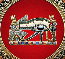 The Eye of Horus in Gold on Red  by Captain7
