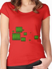 green circuit squares Women's Fitted Scoop T-Shirt