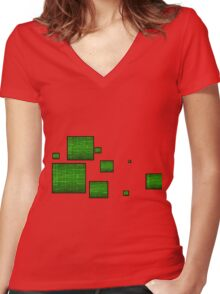 green circuit squares Women's Fitted V-Neck T-Shirt