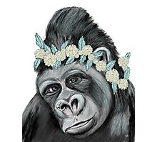 Gorilla with Flower Photographic Print