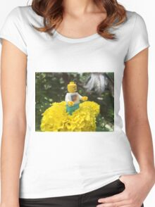 Brickography - By a Flower Women's Fitted Scoop T-Shirt