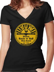 WHERE ROCK N ROLL WAS BORN Women's Fitted V-Neck T-Shirt