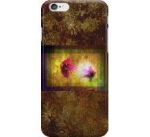 marriage of Titania; Salmon berry floral duet on brown  iPhone Case/Skin