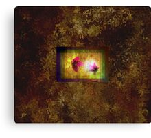marriage of Titania; Salmon berry floral duet on brown  Canvas Print