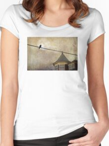 NIGHTFALL AND A CROW Women's Fitted Scoop T-Shirt