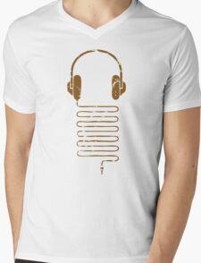 Gold Headphones Mens V-Neck T-Shirt
