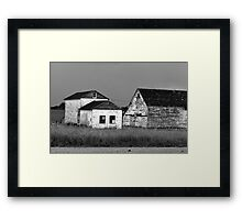 Farm House After The Storm In Black And White Framed Print