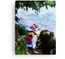 Father and Son Launching Kayaks Canvas Print