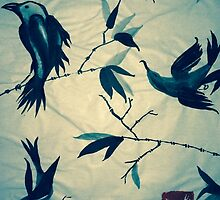 Sumi-e Forest Birds by Kiwi-Fur