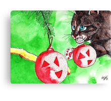 Cat Attacking Christmas Tree Canvas Print