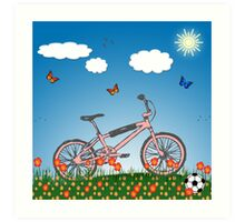 Pink bicycle Art Print
