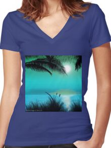 Tropical Island Palm Trees Women's Fitted V-Neck T-Shirt
