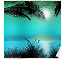 Tropical Island Palm Trees Poster